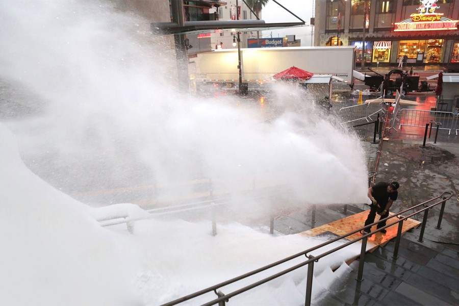 MagicSnow creating snow on Hollywood Blvd. in front of the El Capitan Theater.