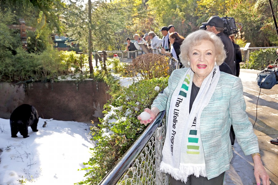 "LOS ANGELES, CA - DECEMBER 11:  Actress Betty White attends Betty ""White Out"" Tour with the Lifeline Program at the Los Angeles Zoo on December 11, 2012 in Los Angeles, California.  (Photo by Brian To/Getty Images for The Lifeline Program)"