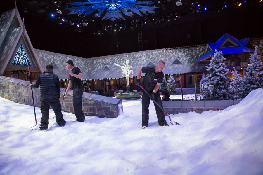 "MagicSnow crew prepares real snow landscape at ""Olaf's Snow Fest"" attraction at Disneyland Resort"