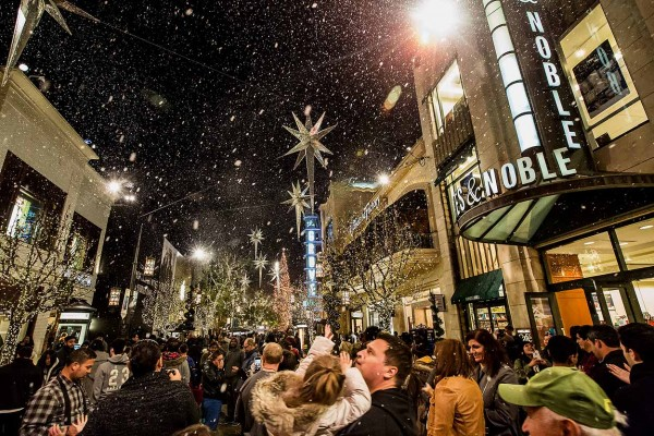 Snow at The Grove in Los Angeles